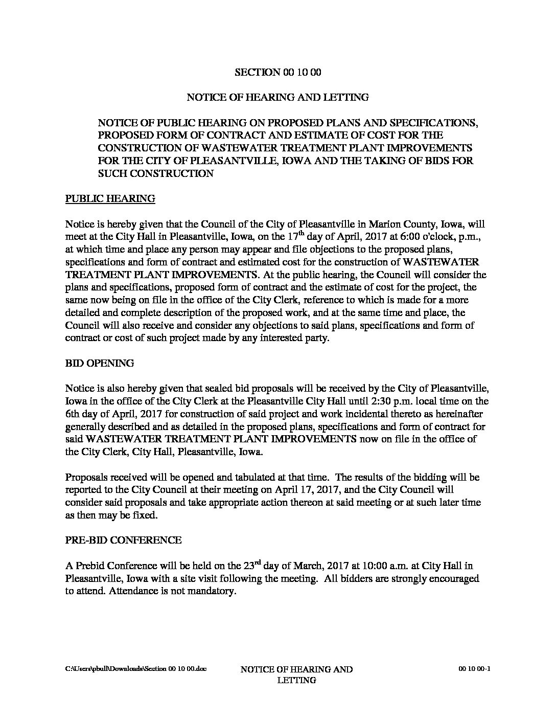 Notice of Hearing and Letting – City of Pleasantville